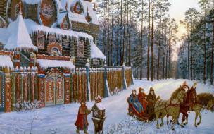 обои для рабочего стола 2560x1600 рисованные, живопись, лес, тройка, замок, снег, дорога