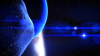 обои для рабочего стола 1920x1080 космос, арт, звезда, астероид, вселенная, планета, лучи, свет