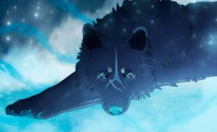 Животные волки волк чёрный арт