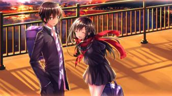 аниме, *unknown , другое, закат, радость, взгляд, kisaragi, shintarou, парень, tateyama, ayano, девушка, swordsouls, art, kagerou, project, форма