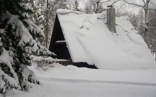 обои для рабочего стола 1920x1200 разное, сооружения, постройки, зима, сугробы, домик, снег, ель