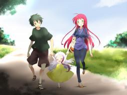 аниме, hataraku maou-sama, anime, art, hataraku, maou-sama, maou, sadao, yusa, emi, arras, ramus, парень, девушка, девочка, втроем, прогулка