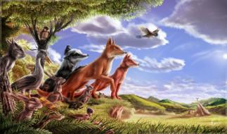 рисованные, животные, птицы, звери