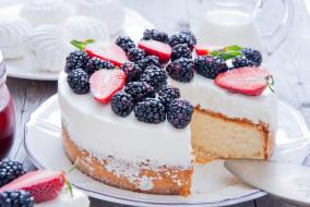 еда, торты, торт, клубника, ежевика, ягоды