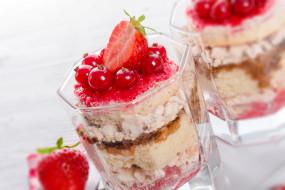 еда, мороженое,  десерты, десерт, тирамису, ягоды, стаканы