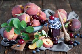 еда, фрукты,  ягоды, голубика, натюрморт, черешня, джем, ягоды, персики