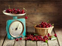 еда, вишня,  черешня, корзинка, ягоды, весы
