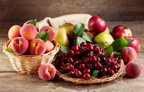 еда, фрукты,  ягоды, ягоды, вишня, яблоки, персики