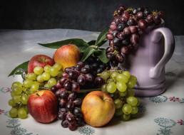 еда, фрукты,  ягоды, яблоки, виноград