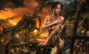 эротика, рисованные, грязь, девушка, развалины, тряпка, пожар, робот