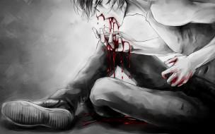 арт мужчина в крови
