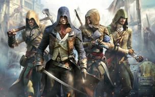 assassin`s creed unity, видео игры, оружие, капюшоны, убийцы
