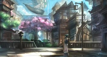 аниме, корабль,  улицы & technology, город, фантастика, водопад, ушки, неко, девушка, art, kikivi, сакура