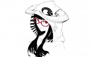 аниме, -angels & demons, капюшон, монохромное, рога, art, jaco, девушка, взгляд, улыбка, очки