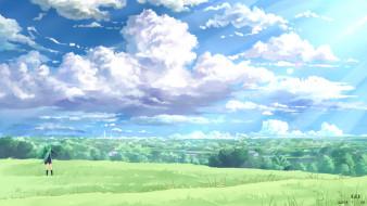аниме, vocaloid, вокалоид, yuuko-san, art, небо, hatsune, miku, девушка, ветер, поле