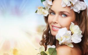 улыбка, цветы