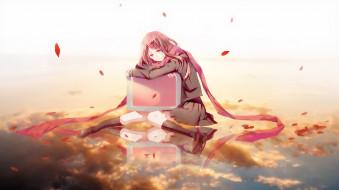 by pudding, аниме, mekakucity actors, шарф, девушка, монитор, облака, небо, отражение, лепестки, форма, tateyama, ayano, kagerou, project