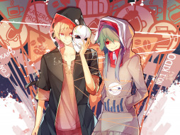 by rain lan, аниме, mekakucity actors, kano, shuuya, kido, tsubomi, kagerou, project, улыбка, знаки, капюшон, маска, парень, девушка