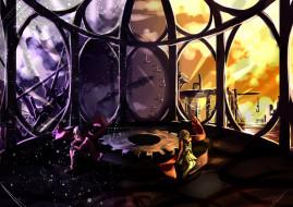 by yelsh, аниме, mekakucity actors, кран, шестерни, часы, окно, город, шарф, парень, ночь, цифры, стрелки, девушка, день, tateyama, ayano, kagerou, project, здания