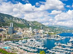 la condamine,  monaco, города, - панорамы, панорама, порт, гавань, здания, побережье, горы, яхты, катера, бухта, монако, la, condamine, monaco, ла-кондамин