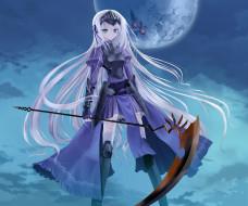 аниме, kore wa zombie desu ka, коса, белые, волосы, оружие, девушка, kore, wa, zombie, desu, ka