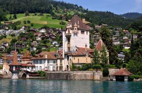 замок д`оберхофен , швейцария, города, - дворцы,  замки,  крепости, замок, вода