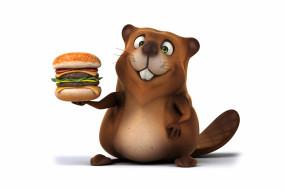рисованные, животные, бобр, beaver, funny, hamburger, character