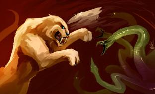 рисованные, животные, змея, лев