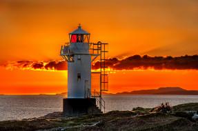 природа, маяки, зарево, маяк, океан