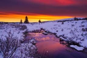 природа, восходы, закаты, закат, зима, вода, река, облака, снег, кусты, деревья