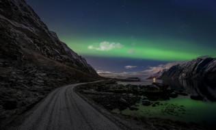 природа, дороги, дорога, небо, ночь, скалы, облака, норвегия, северное, сияние, лофотенские, острова