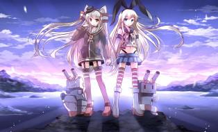 аниме, kantai collection, art, risutaru, девушки, rensouhou-chan, rensouhou-kun, взгляд, улыбка, роботы, море, закат, kantai, collection