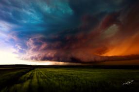 природа, стихия, альберта, канада, шторм, небо, поля, тучи