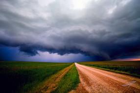 природа, стихия, грунтовка, дорога, поля, шторм, небо, тучи, альберта, канада