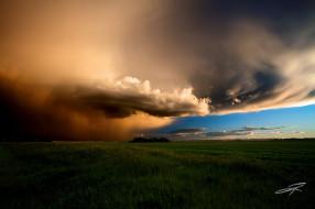 природа, стихия, канада, июнь, вечерний, шторм, лето, тучи, небо, поле, альберта