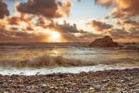 природа, побережье, закат