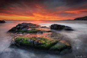 природа, восходы, закаты, выдержка, море, камни, закат, небо