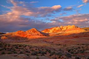 небо, закат, горы, скалы