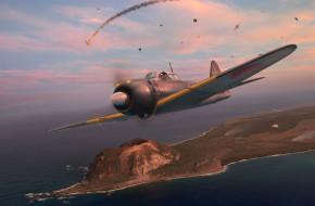 Japanese A6M5 Mod. 52 Zero обои для рабочего стола 2042x1342 japanese a6m5 mod,  52 zero, авиация, 3д, рисованые, v-graphic, самолет, рисунок, небо