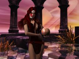 3д графика, фантазия , fantasy, девушка, шар, взгляд