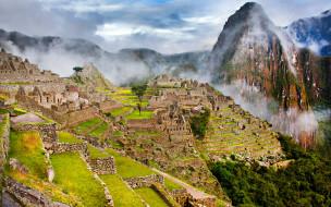 города, мачу-пикчу , перу, туман, склоны, горы, руины, мачу, пикчу, город