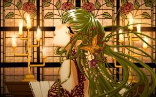 обои для рабочего стола 1920x1200 аниме, code geass, витраж, cc, цветы, заколка, стол, свет, волосы, скатерть, свечи, подсвечник, платье, девушка, бабочка, украшение