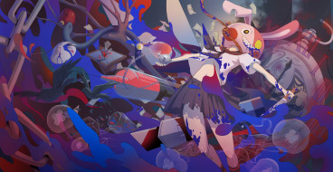 обои для рабочего стола 3000x1552 аниме, -weapon,  blood & technology, птицы, медузы, маска, арт, нож, верёвка, часы, вороны, девушка, цепь