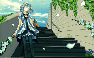 by cilou, аниме, beatless, небо, зелень, лепестки, ветер, девушка, lacia, цветы, лестница, облака, розы, redjuice