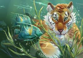 рисованные, животные, art, арт, вода, тигр, рыбы