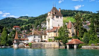 oberhofen castle  lake thun, города, - дворцы,  замки,  крепости, озеро, швейцария, lake, thun, oberhofen, castle, замок