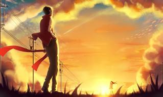 аниме, mekakucity actors, столбы, провода, солнце, шарф, облака, небо, закат, парень, девушка, tateyama, ayano, kisaragi, shintaro, kagerou, project, prupon, арт
