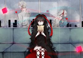 аниме, mekakucity actors, ленты, парень, девушки, сердце, арт