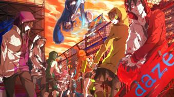 аниме, mekakucity actors, арт, девушки, парни, ярко, краски