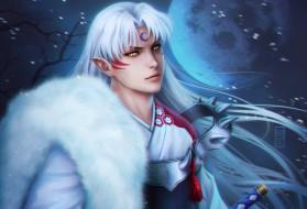эльфы, ночь, парень, sesshomaru, inuyasha, zetsuai89, белые, волосы, меч, лепестки, мех, луна
